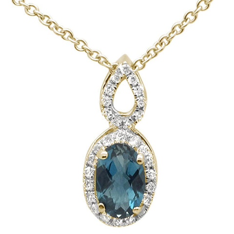 ".56cts 10k Yellow Gold Oval Blue Topaz & Diamond Pendant Necklace 18"" Long"