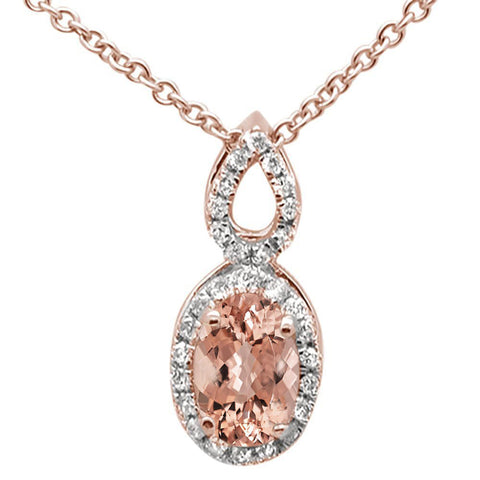 ".53cts 10k Rose Gold Oval Morganite & Diamond Pendant Necklace 18"" Long"