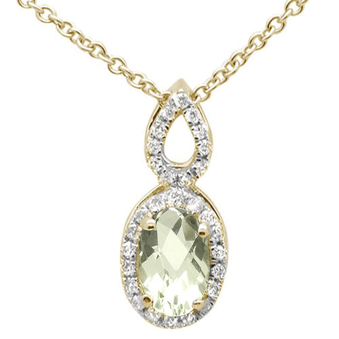 .58ct 10k Yellow Gold Green Amethyst & Diamond Solitaire Pendant Necklace