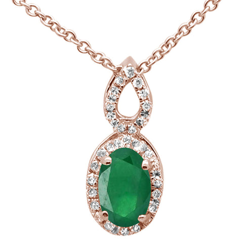 ".49ct Oval Emerald 10k Rose Gold Diamond Pendant Necklace 18"" Long"