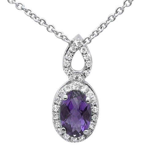 ".50cts 10k White Gold Amethyst & Diamond Pendant Necklace 18"" Long"