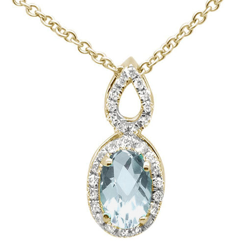 .46ct 10k Yellow Gold Aquamarine & Diamond Solitaire Pendant Necklace