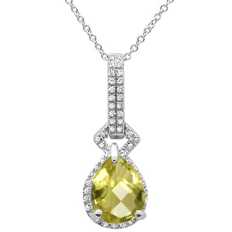 "1.74cts 10k White Gold Pear Lemon Quartz & Diamond Pendant Necklace 17"" Long"