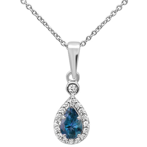 ".53cts 10k White Gold Pear Blue Topaz & Diamond Pendant Necklace 18"" Long"
