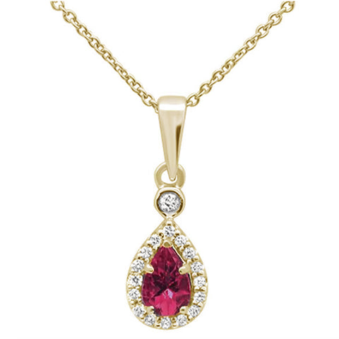.53cts 10k Yellow Gold Pear Pink Tourmaline & Diamond Pendant Necklace 18""