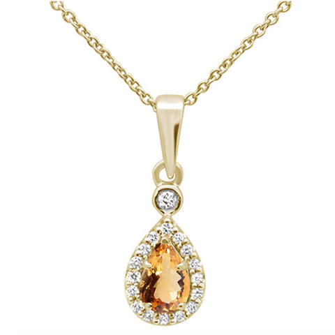 .48cts 10k Yellow Gold Pear Citrine & Diamond Pendant Necklace 18""