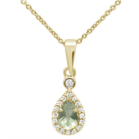 .47cts 10k Yellow Gold Pear Green Amethyst & Diamond Pendant Necklace 18""