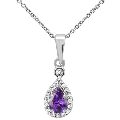 ".35cts 10k White Gold Pear Amethyst & Diamond Pendant Necklace 18"" Long"