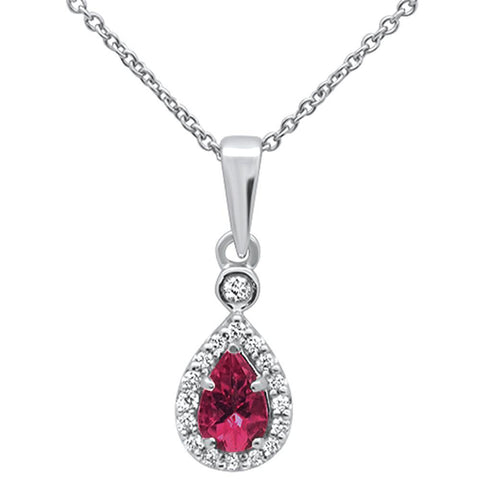 .42cts 10k White Gold Pear Pink Tourmaline & Diamond Pendant Necklace 18""