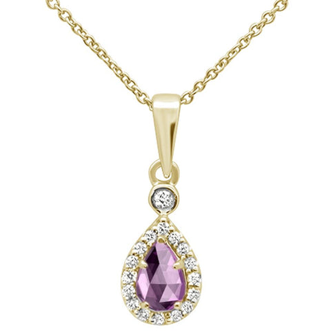 .44cts 10k Yellow Gold Pear Pink Amethyst & Diamond Pendant Necklace 18""