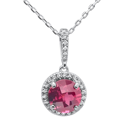 1.51ct 10k White Gold Round Rhodonite & Diamond Pendant Necklace 18""