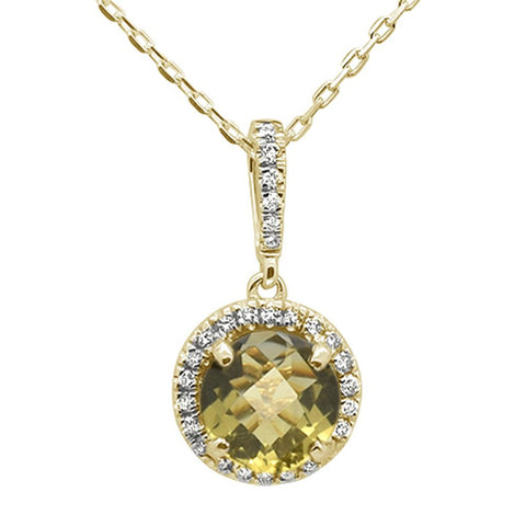 1.35ct 10k Yellow Gold Round Olive & Diamond Pendant Necklace 18""