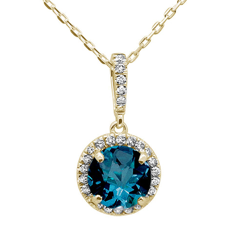 1.11ct 10K Yellow Gold Natural Blue Topaz & Diamond Pendant Necklace 18""
