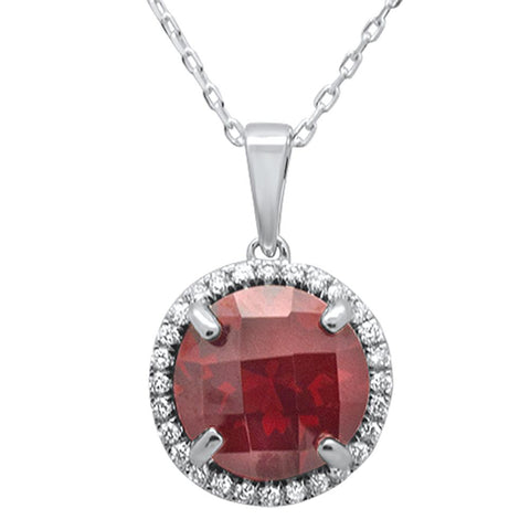 4.56ct 10k White Gold Round Garnet & Diamond Pendant Necklace 18""