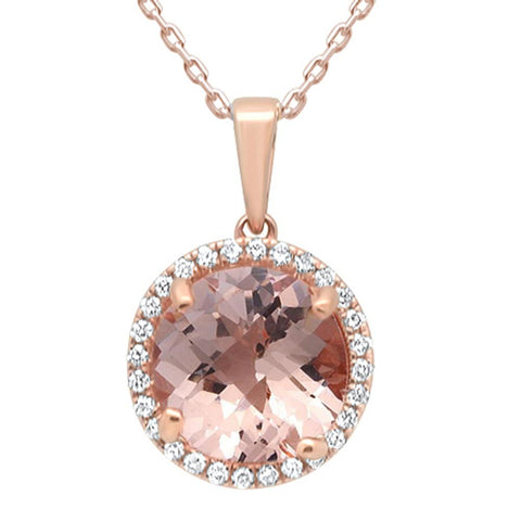 4.16ct 10k Rose Gold Round Morganite & Diamond Pendant Necklace 18""