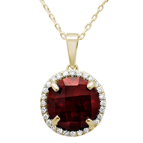 "4.67ct 10K Yellow Gold Garnet & Diamond Pendant Necklace 18"" Long"