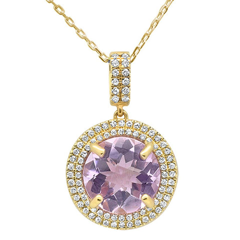 3.25ct 10k Yellow Gold Round Pink Amethyst & Diamond Pendant Necklace 18""