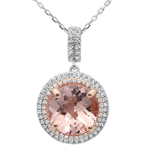 3.62ct 10k Two Tone Gold Round Morganite & Diamond Pendant Necklace 18""