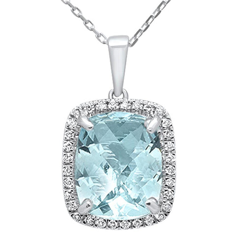 4.38ct 10k White Gold Cushion Aquamarine & Diamond Pendant Necklace 18""