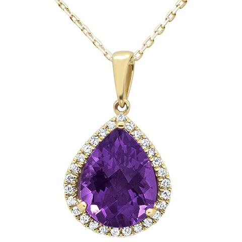 3.69ct 10k Yellow Gold Pear Shape Amethyst & Diamond Pendant Necklace 18""