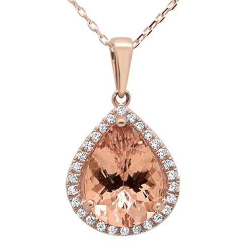 3.16ct 10k Rose Gold Pear Shape Morganite & Diamond Pendant Necklace 18""