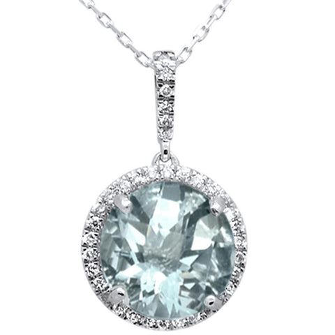 3.46ct 10k White Gold Round Aquamarine & Diamond Pendant Necklace 18""