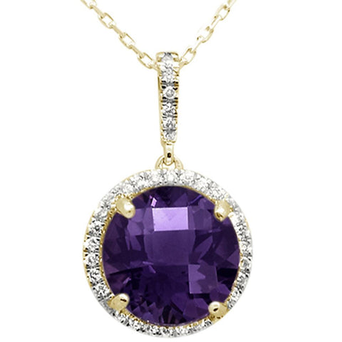 3.37ct 10k Yellow Gold Round Amethyst & Diamond Pendant Necklace 18""