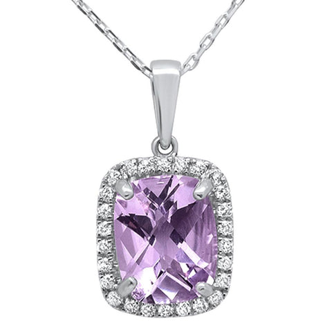 2.54ct 10k White Gold Cushion Pink Amethyst & Diamond Pendant Necklace 18""