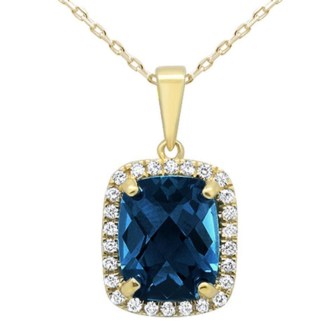 3.97ct 10k Yellow Gold Cushion Blue Topaz & Diamond Pendant Necklace 18""