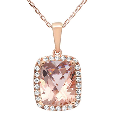 3.02ct 10k Rose Gold Cushion Morganite & Diamond Pendant Necklace 18""