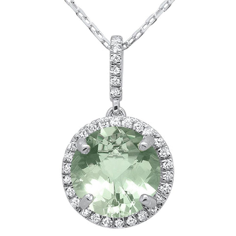 2.75ct 10k White Gold Round Green Amethyst & Diamond Pendant Necklace 18""