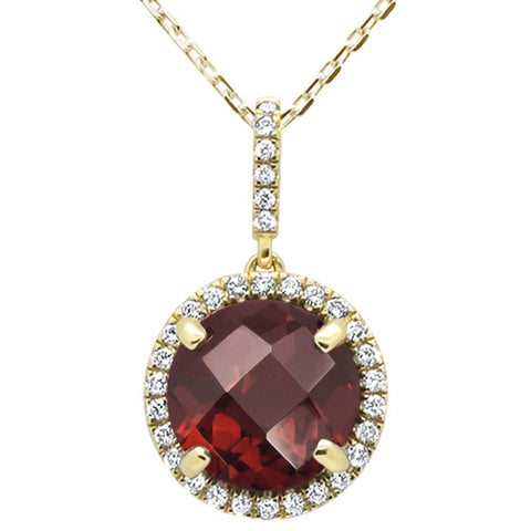 4.01ct 10k Yellow Gold Round Garnet & Diamond Pendant Necklace 18""