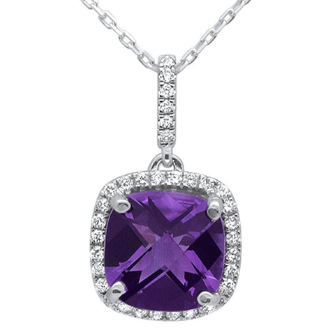 2.75ct 10k White Gold Cushion Amethyst & Diamond Pendant Necklace 18""