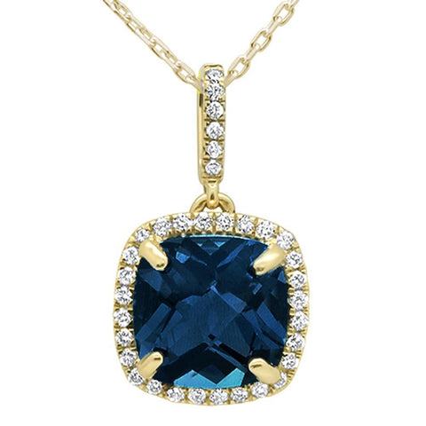 3.56ct 10k Yellow Gold Cushion Blue Topaz & Diamond Pendant Necklace 18""