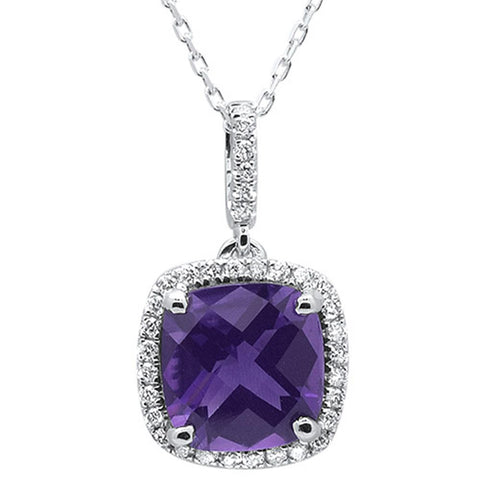 2.74cts 10k White Gold Cushion Amethyst & Diamond Pendant 18""