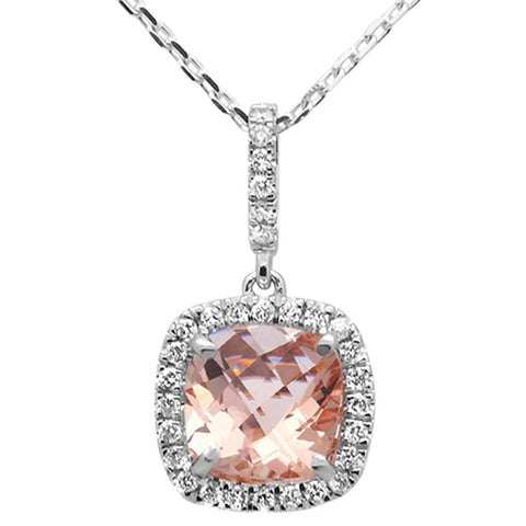 1.44ct 10k White Gold Cushion Morganite & Diamond Pendant Necklace 18""