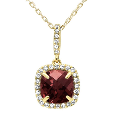 1.81ct 10k Yellow Gold Cushion Garnet & Diamond Pendant Necklace 18""