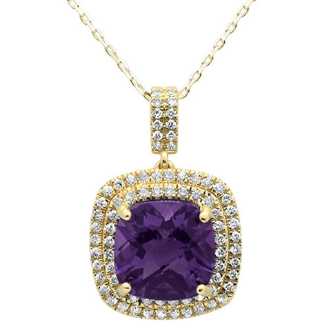 4.53ct 10k Yellow Gold Cushion Amethyst & Diamond Pendant Necklace 18""