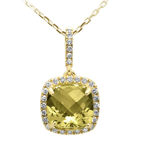 1.97ct 10k Yellow Gold Cushion Olive & Diamond Pendant Necklace 18""