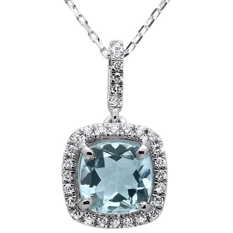 1.52cts 10k White Gold Cushion Aquamarine & Diamond Pendant 18""