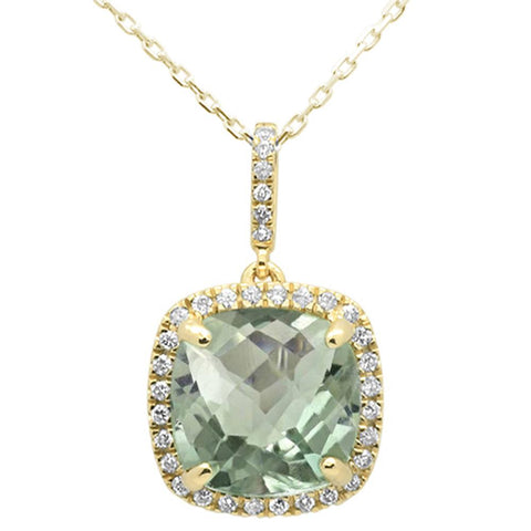 4.21ct 10k Yellow Gold Cushion Green Amethyst Diamond Pendant Necklace 18""