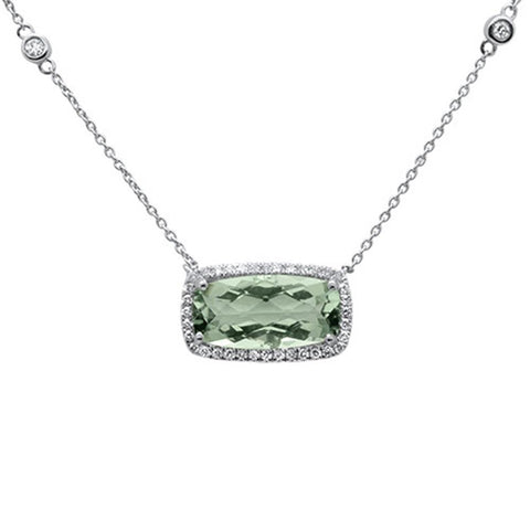 5.14cts 10k White Gold Emerald Cut Cut Green Amethyst & Diamond Pendant 18""