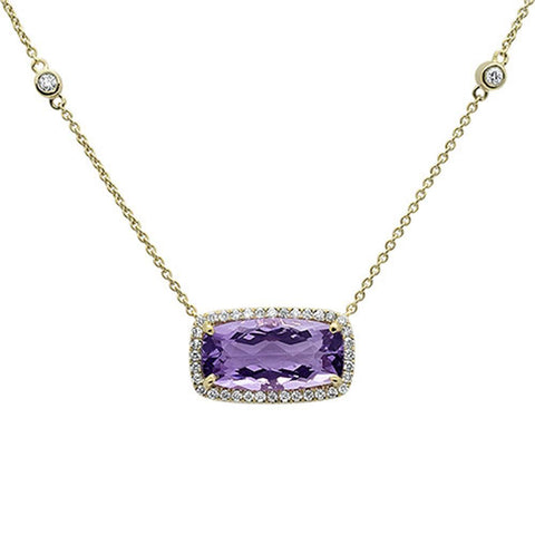 5.34cts 10k Yellow Gold Emerald Cut Cut Pink Amethyst & Diamond Pendant 18""