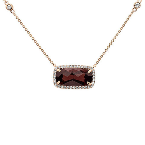5.65cts 10k Rose Gold Emerald Cut Cut Garnet & Diamond Pendant 18""