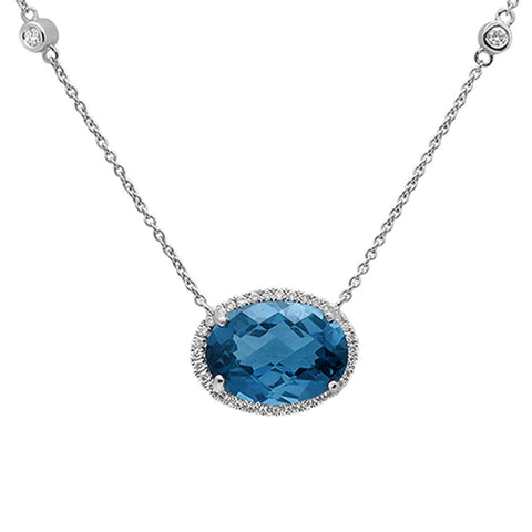 7.76cts 10k White Gold Oval Blue Topaz & Diamond Pendant 18""