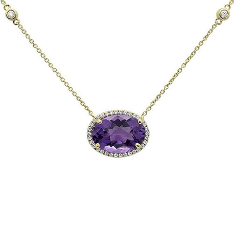 5.43cts 10k Yellow Gold Oval Amethyst & Diamond Pendant 18""