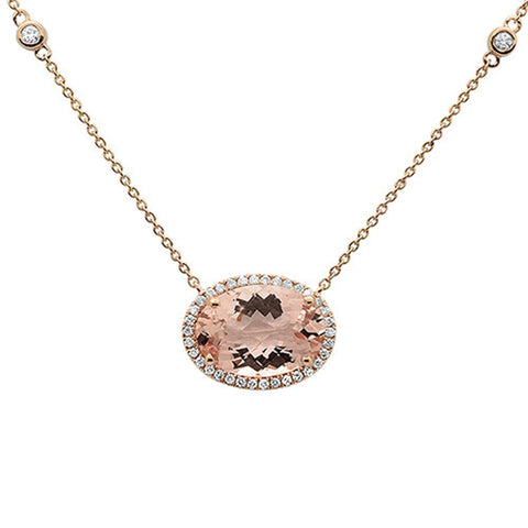4.99cts 10k Rose Gold Oval Morganite & Diamond Pendant 18""