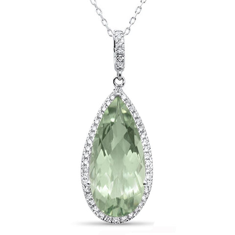 7.38cts 10k White Gold Pear Shape Green Amethyst & Diamond Pendant 18""