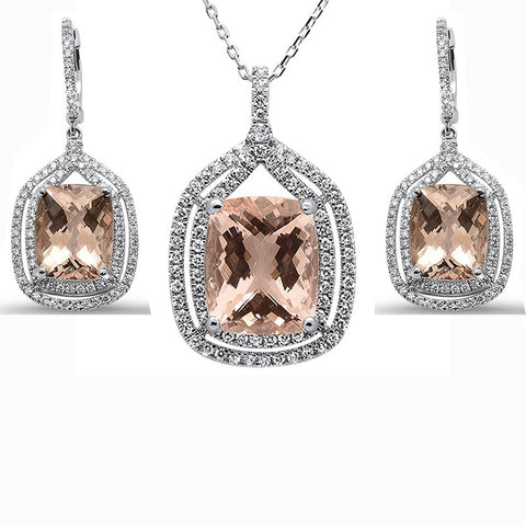 16.91cts 10k White Gold Cushion Morganite Diamond Earring & Pendant Set 18