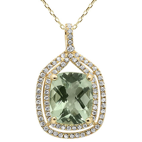 5.28cts 10k Yellow Gold Cushion Green Amethyst & Diamond Pendant 18""